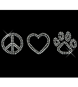"Sparkling ""Peace, Heart, Paw"" 8.75"" X 2.5"" Rhinestone Applique Iron-On"