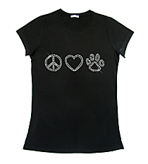 "Sparkling ""Peace, Heart, Paw"" Ladies Short Sleeve Fitted T-Shirt 8.75"" X 2.5"" Design 13949 * Choose Your Shirt Color"