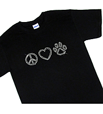 "Sparkling ""Peace, Heart, Paw"" Short Sleeve Relaxed Fit T-Shirt 8.75"" X 2.5"" Design 13949 *Choose Your Shirt Color"