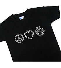 "Sparkling ""Peace, Heart, Paw"" Youth Short Sleeve Relaxed * 8.75"" X 2.5"" Design * Choose Your Shirt Color"