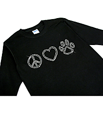 "Sparkling ""Peace, Heart, Paw"" Youth Long Sleeve Relaxed T-Shirt * 8.75"" X 2.5"" Design * Choose Your Shirt Color"