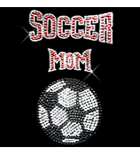"Dazzling ""Soccer Mom"" 6"" X 9"" Rhinestone Applique Iron-On #13987"