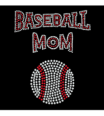 "Sparkling ""Baseball Mom"" 7.25"" X 6"" Rhinestone Applique Iron-On #13988"