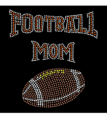 "Sparkling ""Football Mom"" 6.25"" X 7.25"" Rhinestone Applique Iron-On"