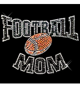 "Sparkling ""Football Mom"" 9"" X 6.5"" Rhinestone Applique Iron-On"