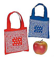 12 Bandana Print Mini Tote Bags #14/107