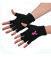 One Pair of Pink Ribbon Fingerless Gloves #14/1813