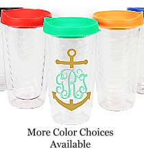Anchor Monogram Clear 14 oz. Double Wall Tumbler with Lid #WA334021-CL *Choose Your Lid and Vinyl Colors