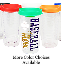 Baseball Clear 14 oz. Double Wall Tumbler with Lid #WA334021-CL *Personalize Your Colors and Text