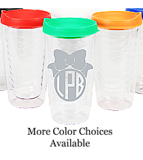 Bow Monogram Clear 14 oz. Double Wall Tumbler with Lid #WA334021-CL *Choose Your Lid and Vinyl Colors