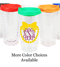 Bow with Pearls Monogram Clear 14 oz. Double Wall Tumbler with Lid #WA334021-CL *Choose Your Lid and Vinyl Colors