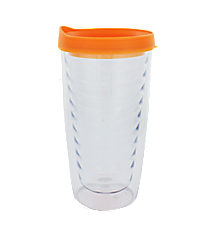 Clear 14 oz. Double Wall Tumbler with Orange Lid #WA334021-CL-OR