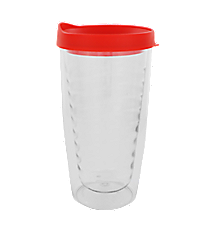 Clear 14 oz. Double Wall Tumbler with Red Lid #WA334021-CL-RD