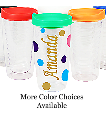 Sideways Name Clear 14 oz. Double Wall Tumbler with Lid #WA334021-CL *Choose Your Lid and Vinyl Colors