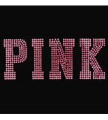 "Dazzling ""PINK"" 10"" x 4"" Rhinestone Applique Iron-On #14004"