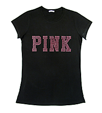 "Dazzling ""PINK"" Ladies Short Sleeve Fitted T-Shirt 10"" x 4"" Design 14004 *Choose Your Shirt Color"