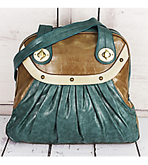 SALE! Faux Weathered Tri-Color Leather Bowler Bag #1402