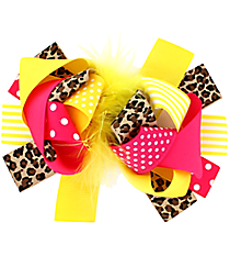 Girl's Large Hot Pink and Yellow Leopard Hair Clippy #140509-07