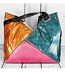 SALE! Metallic Orange, Teal, and Pink Faux Leather Triangle Handbag #1413