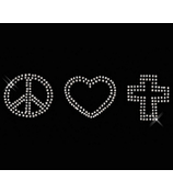 "Dazzling ""Peace, Love, Cross"" 9"" X 2.25"" Rhinestone Applique Iron-On #14137"