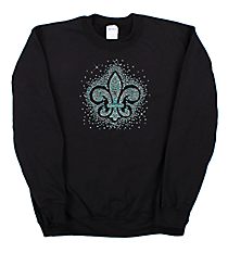 "Sparkling ""Silver and Teal Fleur De Lis"" Heavy-weight Crew Sweatshirt 12"" X 11"" Design 14146 *Choose Your Shirt Color"