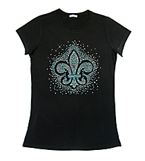 "Sparkling ""Silver and Teal Fleur De Lis"" Ladies Short Sleeve Fitted T-Shirt 12"" X 11"" Design 14146 * Choose Your Shirt Color"