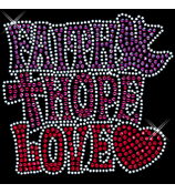 "Radiant ""Faith, Hope, Love"" 5"" x 4.75"" Rhinestone Applique Iron-On"