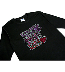 "Radiant ""Faith, Hope, Love"" Youth Long Sleeve Relaxed T-Shirt 5"" x 4.75"" Design 14174 * Choose Your Shirt Color"