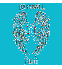 "Glittering Baseball Mom with Wings 8.5"" X 13.75"" Rhinestone Applique Iron-On #14249"