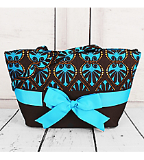 SALE! Ribbon Accented Brown and Blue Wide Bucket Bag #HE76DBRB