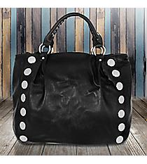 Silver Studded Black Leather Handbag #FH0131-1439-BLKckle Shoulder Bag #KTI4579-PLUM