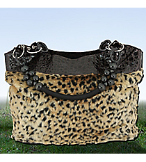 Leopard Fur and Brown Croco Shoulder Bag with Beaded Handles #1450-HBG90841BR