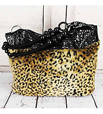 SALE! Faux Leopard Fur Shoulder Bag with Brown Croco Trim #HBG90841BR