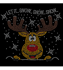 "Dazzling ""Let it Snow"" 10.25"" x 9"" Rhinestone Applique Iron-On"