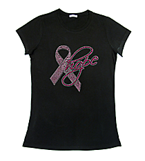 "Dazzling ""Pink Ribbon Hope"" Ladies Short Sleeve Fitted T-Shirt 7.5"" x 7.5"" Design 14788 *Choose Your Shirt Color"