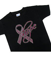 "Dazzling ""Pink Ribbon Hope"" Youth Short Sleeve Relaxed Fit T-Shirt 7.5"" x 7.5"" Design 14788 *Choose Your Shirt Color"