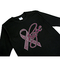 "Dazzling ""Pink Ribbon Hope"" Youth Long Sleeve Relaxed T-Shirt 7.5"" x 7.5"" Design 14788 *Choose Your Shirt Color"