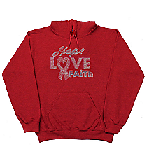 "Dazzling ""Hope, Love, Faith"" Relaxed Fit Hoodie 7"" x 8.75"" Design 14789 *Choose Your Shirt Color"