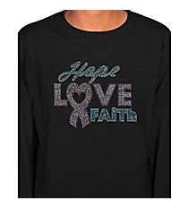 "Dazzling ""Hope, Love, Faith"" Youth Long Sleeve Relaxed T-Shirt 7"" X 8.75"" Design 14789 *Choose Your Shirt Color"