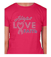 "Dazzling ""Hope, Love, Faith"" Ladies Short Sleeve Fitted T-Shirt 7"" x 8.75"" Design 14789 *Choose Your Shirt Color"