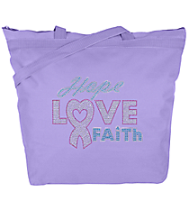 "Dazzling ""Hope, Love, Faith"" Large Zipper Tote #8802 7"" x 8.75"" Design 14789 *Choose Your Tote Color"