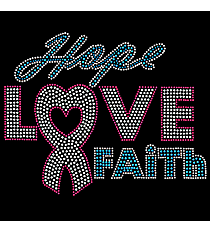 "Dazzling ""Hope, Love, Faith"" 7"" X 8.75"" Rhinestone Applique Iron-On #14789"