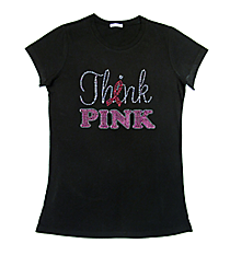 "Dazzling ""Think Pink"" Ladies Short Sleeve Fitted T-Shirt 8"" x 6.5"" Design 14790 *Choose Your Shirt Color"