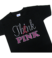 "Dazzling ""Think Pink"" Youth Short Sleeve Relaxed T-Shirt 8"" x 6.5"" Design 14790 *Choose Your Shirt Color"