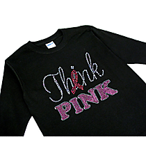 "Dazzling ""Think Pink"" Youth Long Sleeve Relaxed T-Shirt 8"" x 6.5"" Design 14790 *Choose Your Shirt Color"