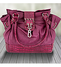 Purple Leather Shoulder Bag with Croco Trim #1488-PA8612-PU