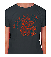 Orange Paw and Team Name Ladies Short Sleeve Fitted T-Shirt 14897 *Choose Your Team Name!
