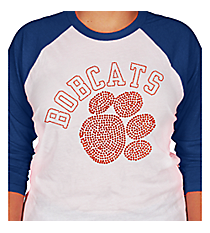 Orange Paw and Team Name 3/4 Sleeve Raglan Tee 14897 *Choose Your Team Name!