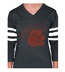Orange Paw and Team Name Ladies Football Tee 14897 *Choose Your Team Name!