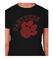 Red Paw and Team Name Ladies Short Sleeve Fitted T-Shirt 14899 *Choose Your Team Name!